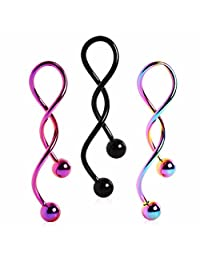 PVD Plated Spiral Navel Ring (Sold Individually) Black