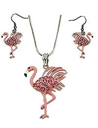 DianaL 精品美丽粉色火烈鸟吊坠项链和耳环套装 45.72 厘米蛇形链时尚珠宝