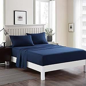 JML 床单套装双磨毛超细纤维床上用品套装 - 防皱、防污 *蓝 King BSS4-90E-Blue-K
