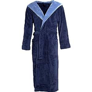 摇粒绒带帽浴袍–适合男士和女士–Texas经典优雅的设计–长度至小腿。 Dunkelblau Mittelblau Medium