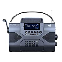 Kaito 应急收音机Voyager Max KA900 数码太阳能动力曲柄发条 AM/FM/SW 和 NOAA 天气立体声接收器,蓝牙,实时警报,MP3 播放器,录音机和电话充电器,黑色KA900 标准