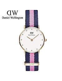 丹尼尔惠灵顿(Daniel Wellington)手表DW女表26mm表盘金色边尼龙带超薄女士石英表Classy系列 瑞典品牌 专柜同款 (蓝粉两色尼龙金色边)