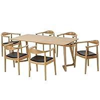 百伽 现代简约全实木餐桌椅组合进口白橡木餐厅家用一桌六椅 1.8米M型腿餐桌+6把总统椅(配送上门/安装咨询电话:400-00-17901,QQ:947880481)