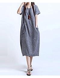 女装连衣裙夏大码胖MM宽松加肥加大棉麻长款娃娃装显瘦连衣裙LK-8152