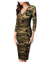 HyBrid & Company 女士*舒适紫红色十字架 V 领中长裙 Brush-10188-迷彩 Large