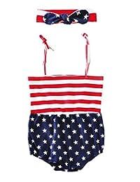新生儿学步女童男童星星条纹爱心连身衣 独立日衣服连体衣