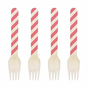 Dress My Cupcake 6.5-Inch Natural Wood Dessert Table Forks, Coral Striped, 500-Pack