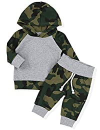 新生儿婴儿男孩迷彩衣服连帽 T 恤上衣 + 裤子套装