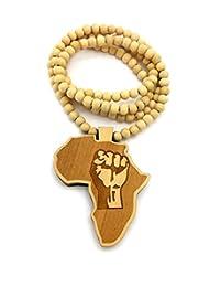 男士 WOOD 非洲地图农用尼龙尼龙木质串珠链项链 天然