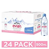evian Natural Spring Water One Case of 24 Individual 500 ml (16.9 Fl. Oz.) Bottles, Naturally Filtered Spring Water in Individual-Sized Plastic Bottles