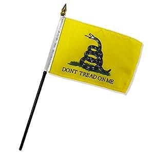 质量标准旗帜 One Dozen Don't Tread On Me 字样贴纸旗帜 4 到 6 英寸 黄色