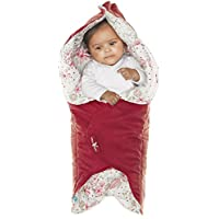 Wallaboo Baby Blanket with Durable Faux Suede and Printed Pure Cotton Warm Red