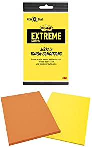 Post-it Extreme XL 便条纸,11.43 cm x 17.78 cm 垫子,橙色和黄色,(EXT456-2MX),每张 25 张,2 张/包(2 包)