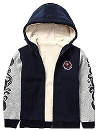 小和大男童加厚羊绒羊毛衬里夹克温暖运动衫连帽衫