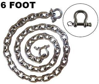 防关闭钩环不锈钢 316 锚链 1/4 英寸或 6 毫米× 6 英尺长,带防关闭钩环