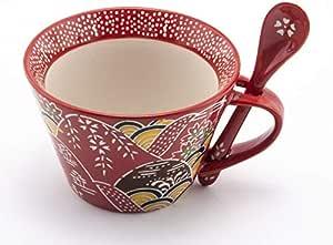 Mira Designs 迷人陶瓷马克杯带配套汤匙 340.19 毫升杯 适用于咖啡茶塔咖啡咖啡馆 Mocha 热饮 Red Oriental 12 fl oz