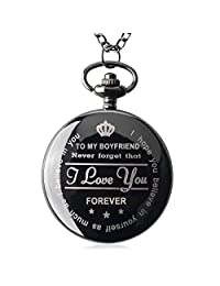 Pocket Watch To My Husband Love Forever Necklace Chain From Wife to Husband Boyfriend Valentines Day Gifts for Him Surprise Gifts for Men with Black Gift Box  Black Gift for Him