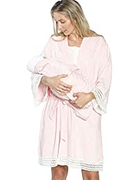 Angel Maternity 3 合 1 新生儿套装:*长袍 + 孕妇长袍,护理连衣裙和婴儿毯人工套装
