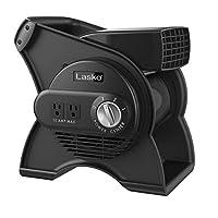 Lasko U12104 高速专业旋转实用风扇,用于冷却、通风、排气和干燥,在家、工作场所和工作商店,黑色,需配变压器
