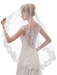 Elawbty 女士 1 层婚礼面纱蕾丝新娘头纱带梳子