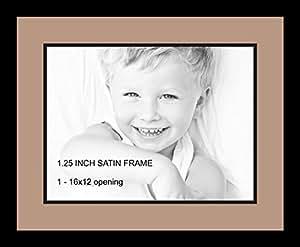 Art to Frames 双-多衬垫-728-767/89-FRBW26079 拼贴照片框双衬垫带 1-12x16 开口和缎面黑框
