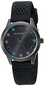 "Skechers 斯凯奇女式""The Dianthus""石英金属和硅胶休闲手表,颜色:黑色(型号:SR6091)"