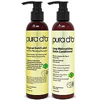 PURA D'OR Biotin Original Gold Label 抗纤薄(2 x 8 盎司)洗发水和护发素套装,经*测试有效溶液,含草本成分,所有发型,男女皆宜(包装可能不同)