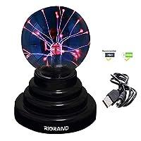 "RioRand RR-USB-6IN 等离子球灯[触摸灵敏] 星云球球新奇玩具 - USB 或电池供电,4"" x 4"" x 6"" x 6"""