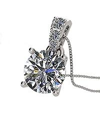 *钻石中心 Nana 纯银施华洛世奇方晶锆石 4 个爪镶圆形单钻吊坠 6.5 毫米,7.5 毫米,8.0 毫米 银色
