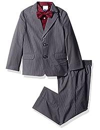 Nautica 男童条纹西装套装带领结