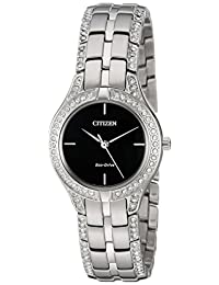 Citizen 女士光动能不锈钢手表水晶点缀,FE2060-53E