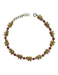 Sansar India 氧化大象珠印印*安人鱼饰品 适合女孩和女士 红色