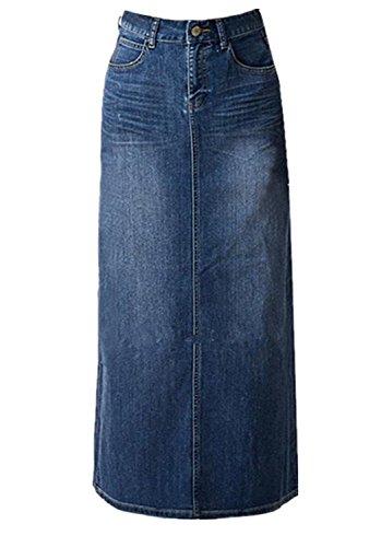 女性のマキシペンシルデニムスカート - ハイウエストAラインロングデニムスカート - ブルーデニムスカートブルーUS 10