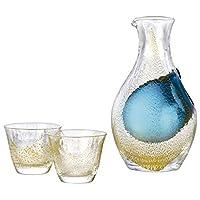 東洋佐佐木玻璃 冷*用 玻璃杯 *收藏 金箔 冷* 玻璃壺 300毫升+杯80毫升×2個 G640-M60