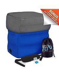 WANDERING TOT 充气脚踏 适合航空旅行 - 幼儿旅行配件 - 可调节高度靠垫 - 赠送眼罩、耳塞和手提包旅行配件 适合儿童和成人
