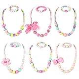 PinkSheep 儿童串珠项链和串珠手链,6 件套,女童首饰套装,女童礼品袋