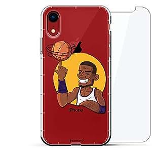 豪华设计师,3D 印花,时尚,气袋垫,360 玻璃保护膜套装手机壳 iPhone XR - 透明阿尔巴尼亚国旗LUX-I9AIR360-BASKETBALL3 SPORTS: Basketball Player Caricature Spinning Ball 透明
