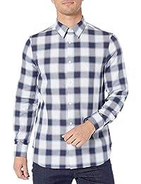 Calvin Klein 男式修身无限 Cool Check 系扣衬衫