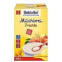 Bebivita 貝唯他 牛奶麥片粥 輔食米糊 不含添加糖 大包裝 水果牛奶麥片 4件裝(4 x 500 g)