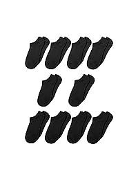 uxcell 女士纹理鞋底及踝袜 - 10 双装纯棉纯色低帮