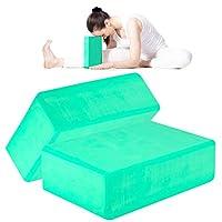 ANJUU 瑜伽砖 2 件装 高* EVA 泡沫块,防滑表面软木瑜伽砖 9 英寸 x 6 英寸 x 3 英寸(约 22.9 厘米 x 15.2 厘米 x 7.6 厘米)环保 EVA 泡沫锻炼砖套装,改善瑜伽/普拉提/冥想的拉伸 - 薄荷绿