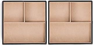 Glenor Co 珠宝收纳盒 - 2 个可堆叠托盘 - 6 个插槽收纳盒,适用于抽屉或梳妆台 - 黑色