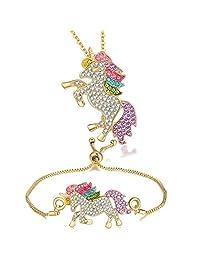 4MEMORYS 彩虹独角兽首饰套装包括吊坠项链、耳环、手镯水钻水晶镀铑女士女孩独角兽礼品套装 Necklace and bracelet-gold