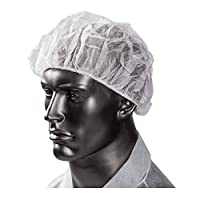 Khandekar 100 只装不含乳胶轻质一次性蓬松软软帽 - 弹性纺粘无纺布保护头盖发网用于食品服务、*使用、*、实验室 - 45.72 厘米,白色