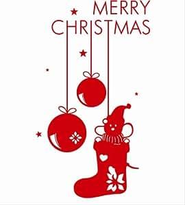 百图 墙贴 2013圣诞元旦 橱窗贴/新年装饰/玻璃窗贴/窗花 圣诞靴 大 W