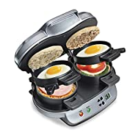 Hamilton Beach 25475 Breakfast Sandwich Maker, Gray 银色 Double w/Timer 需配变压器