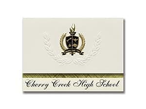 标志性公告 樱桃溪高中(绿木村,CO)毕业公告,总统精英包装 25 金色和黑色金属箔印章