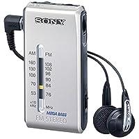 索尼 SRF-S84 FM/AM 超紧凑型收音机带索尼 MDR Fontopia 耳塞(银色)