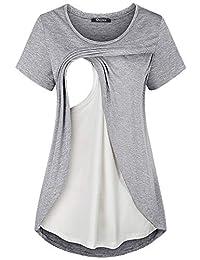 Quinee 女士侧开叉休闲飘逸孕妇哺乳衬衫