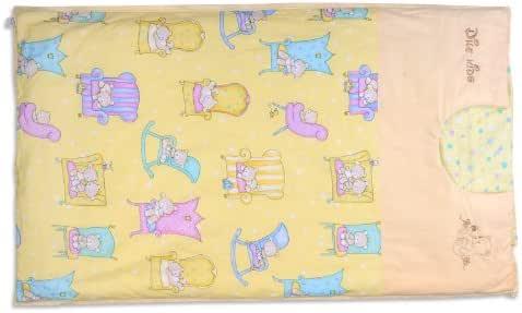 蒂乐U型棉花睡袋/婴儿防踢被/ 防踢睡袋 纯棉可脱胆 送枕头 (XL, 黄色双内胆)